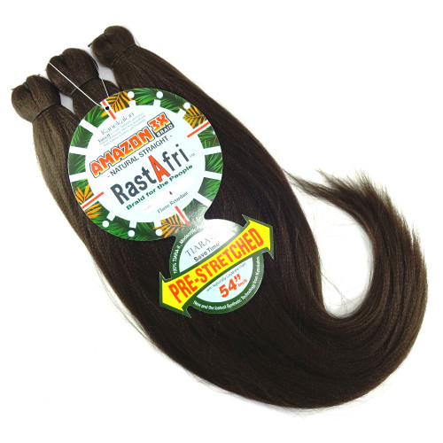 RastAfri Pre-Stretched Amazon 3X Braid, 4 Dark Brown