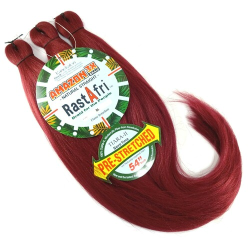 RastAfri Pre-Stretched Amazon 3X Braid, Burgundy