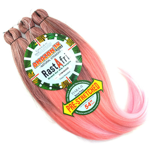 RastAfri Pre-Stretched Amazon 3X Braid, 3T/Pink Molasses