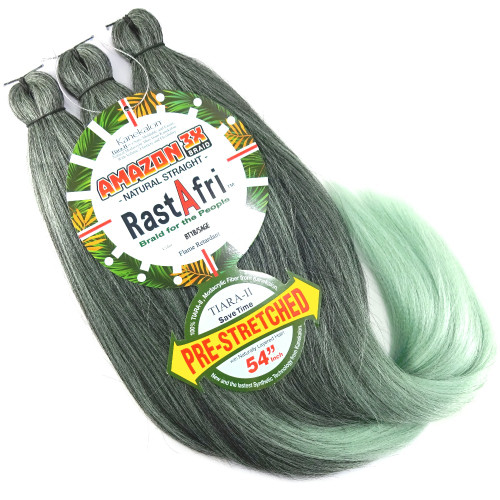 Pre-Stretched Amazon 3X Braid, 1B Off Black with Sage Tips (RastAfri)