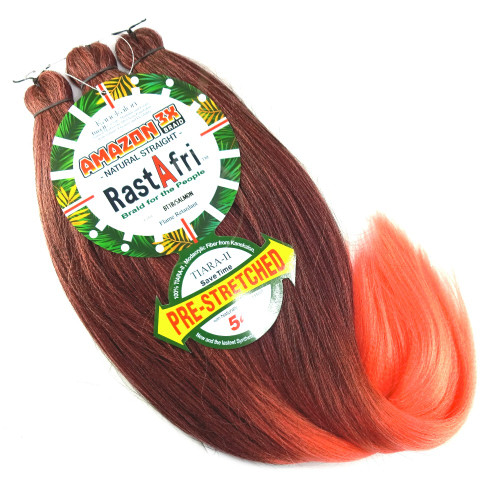 Pre-Stretched Amazon 3X Braid, 1B Off Black with Salmon Tips (RastAfri)