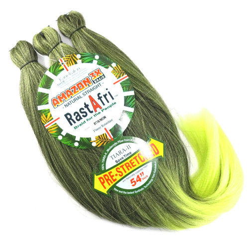 Pre-Stretched Amazon 3X Braid, 1B Off Black with Neon Tips (RastAfri)