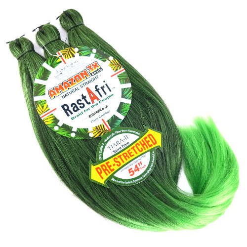 Pre-Stretched Amazon 3X Braid, 1B Off Black with Tropical Green Tips (RastAfri)