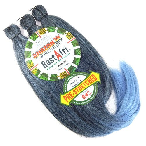 RastAfri Pre-Stretched Amazon 3X Braid, 1B Off Black with Sky Blue Tips
