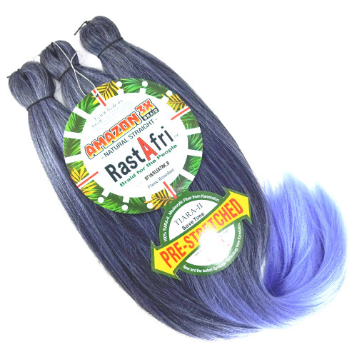 RastAfri Pre-Stretched Amazon 3X Braid, 1B Off Black with Electric Blue Tips