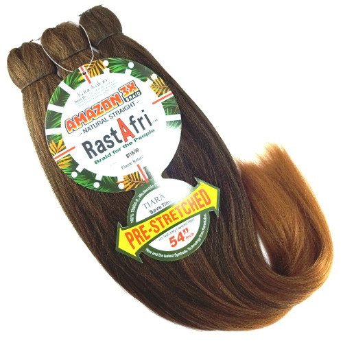 RastAfri Pre-Stretched Amazon 3X Braid, BT1B/30 Off Black with Light Auburn Tips