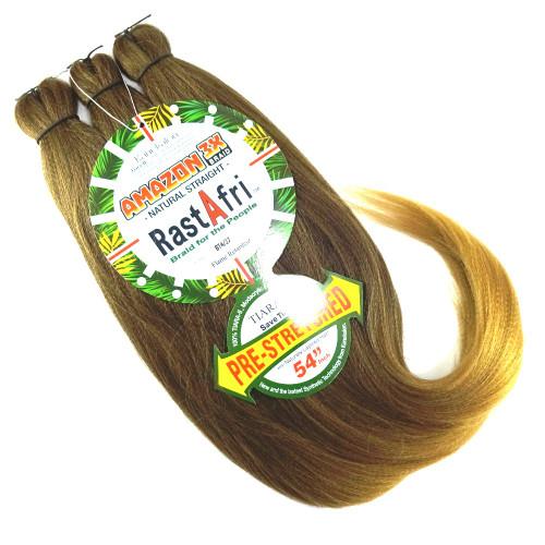 RastAfri Pre-Stretched Amazon 3X Braid, BT4/27 Dark Brown with Strawberry Blond Tips