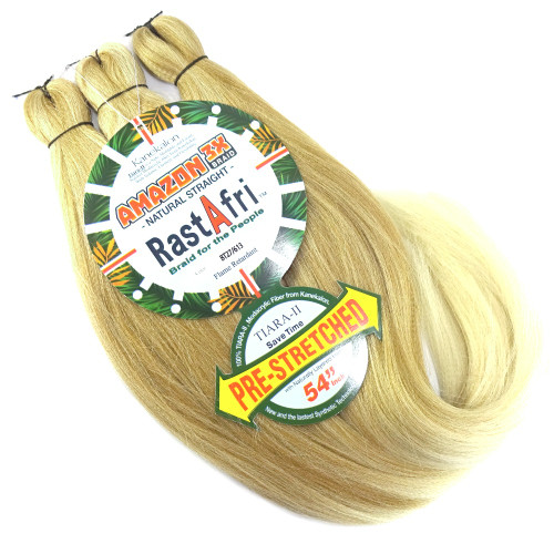 RastAfri Pre-Stretched Amazon 3X Braid, BT27/613 Mixed Blond with Platinum Tips