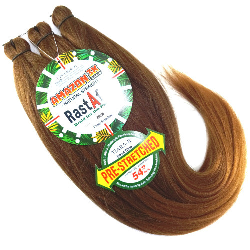 RastAfri Pre-Stretched Amazon 3X Braid, BT6/30 Chestnut Brown with Light Auburn Tips