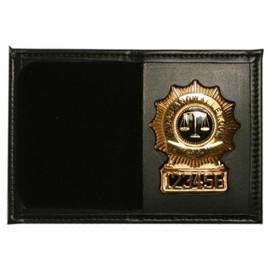 Bi-fold Leather Shield Wallet with Single ID - Black Plain