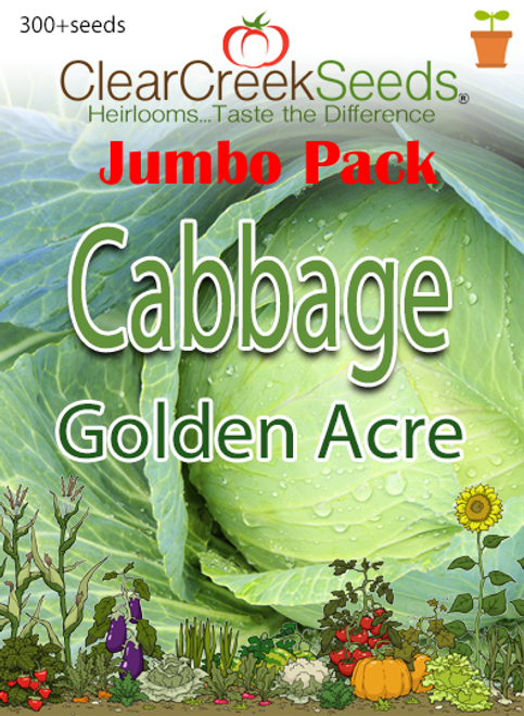 Cabbage - Golden Acre (300+ seeds) JUMBO PACK