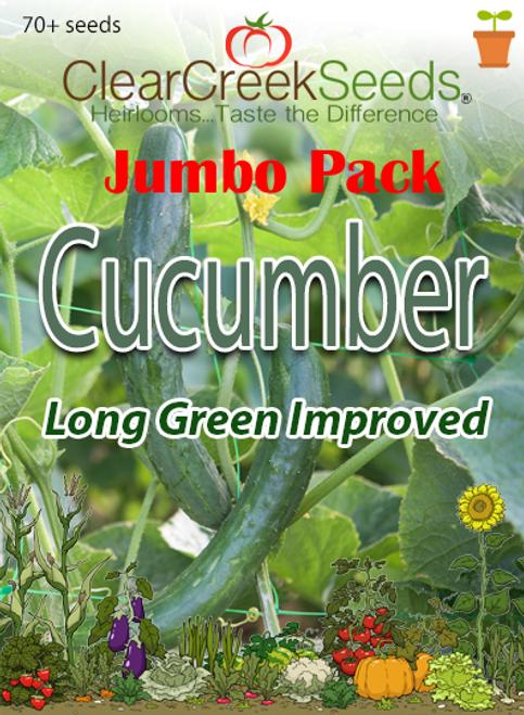 Cucumber - Long Green Improved (70+ seeds) JUMBO PACK
