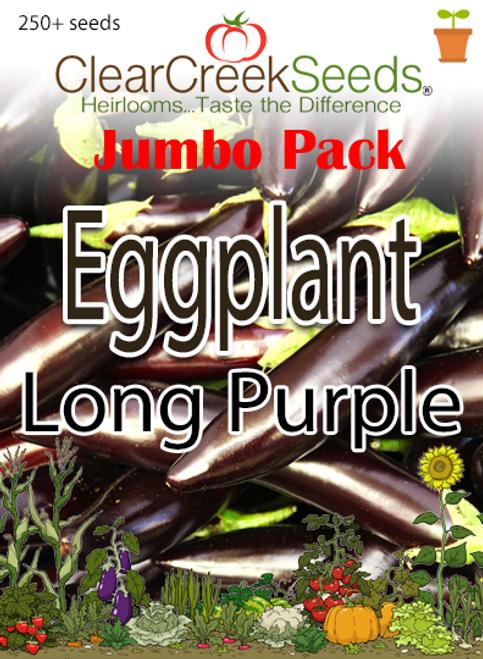 Eggplant - Long Purple (250+ seeds) JUMBO PACK