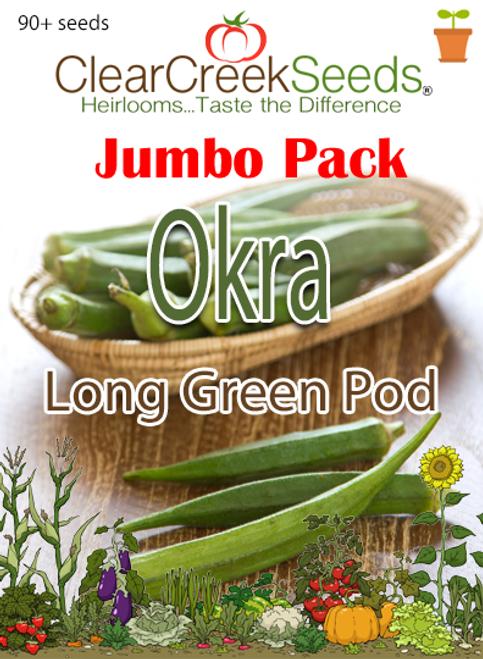 Okra - Long Green Pod (90+ seeds) JUMBO PACK