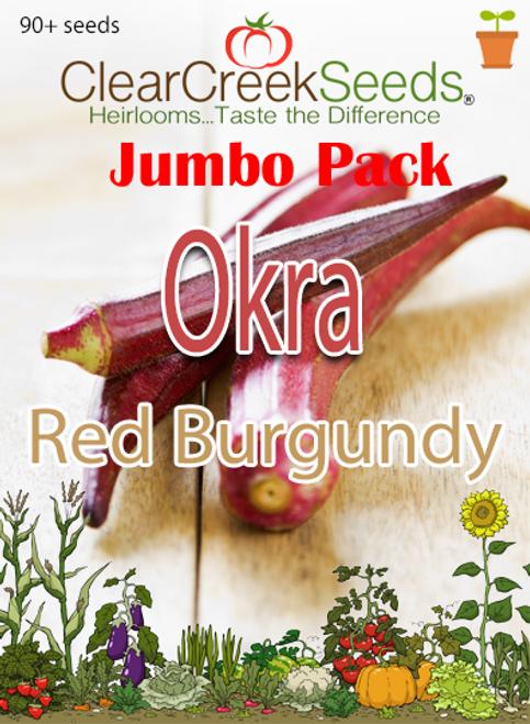 Okra - Red Burgundy (90+ seeds) JUMBO PACK