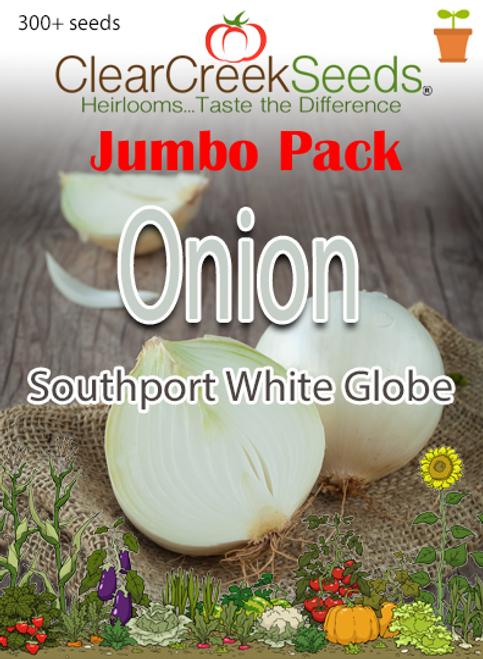 Onion – Southport White Globe (300+ seeds) JUMBO PACK