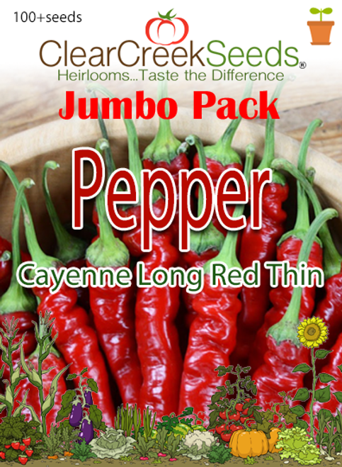 Pepper Hot - Cayenne Long Red Thin (100+ seeds) JUMBO PACK