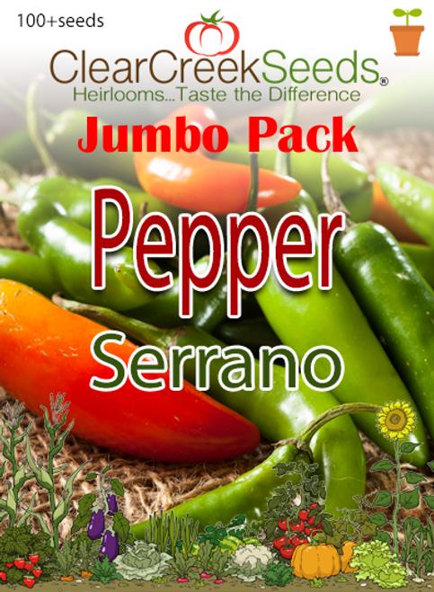 Pepper Hot - Serrano (100+ seeds) JUMBO PACK