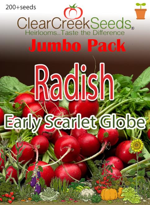 Radish - Early Scarlet Globe (200+ seeds) JUMBO PACK