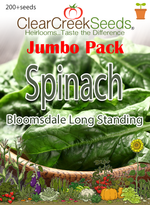 Spinach - Bloomsdale Long Standing (200+ seeds) JUMBO PACK