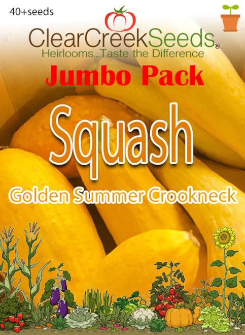 Squash Summer - Golden Summer Crookneck (40+ seeds) JUMBO PACK