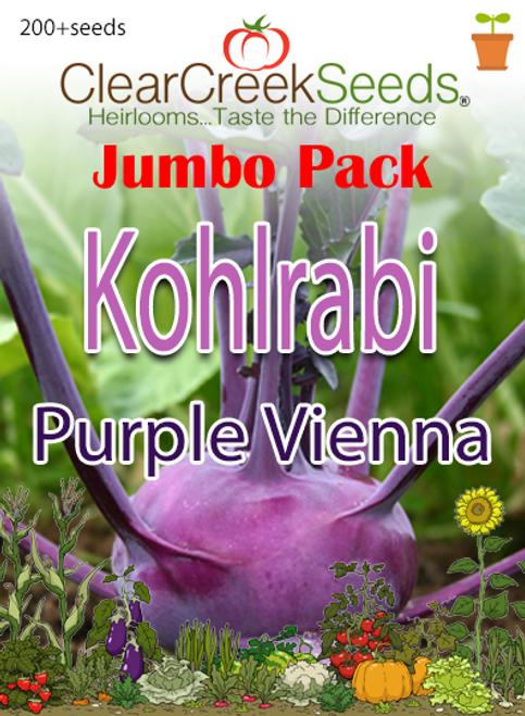 Kohlrabi Seeds - Purple Vienna (200+ seeds) JUMBO PACK