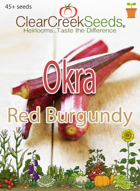 Okra - Red Burgundy (45+ seeds)
