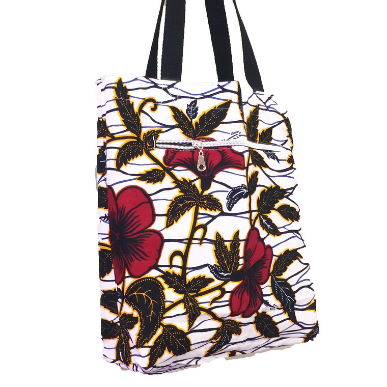 Reversible Small Tote:  Red Flower (Athabasca)