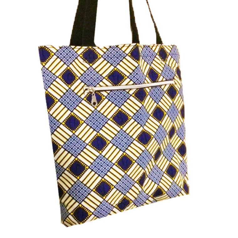 Reversible Small Tote:  Yellow and Blue