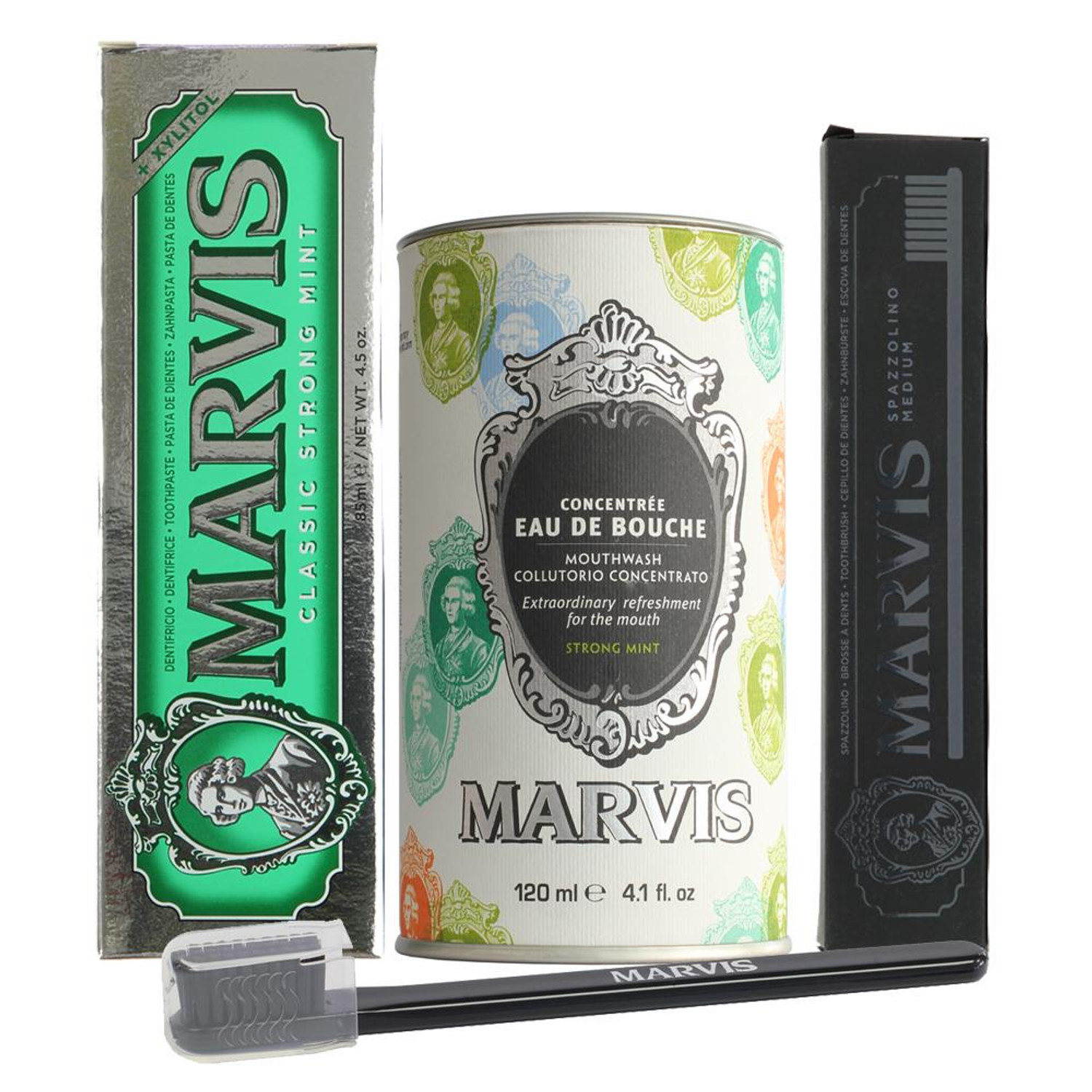 Marvis Mouthwash, Classic Mint Toothpaste & Black Tooth brush