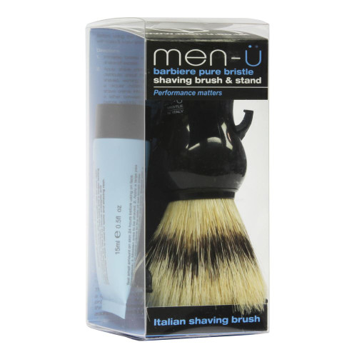 men-u Barbiere Black Pure Bristle Shave Brush + Shaving Cream 15ml