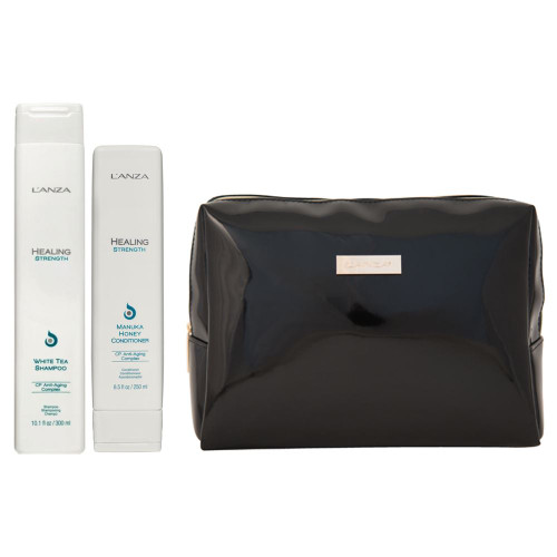 L'Anza Healing Strength Shampoo, Conditioner & Cosmetic Bag