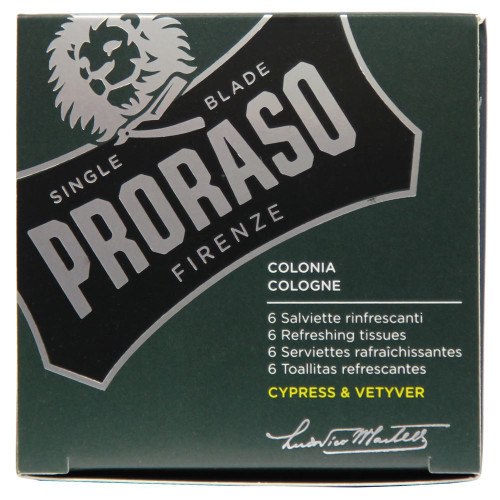 Proraso Cypress & Vetyver Refreshing Tissues Wipes (6-pack)