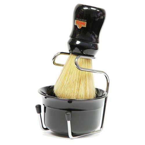 Omega Black Shaving Bowl, Shaving Brush and Drip Stand