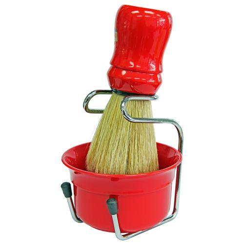 Omega Red Shaving Bowl, Shaving Brush and Drip Stand