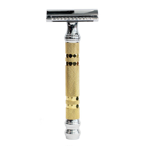 Parker 69CR 4 Piece Gold Texture Handle Safety Razor