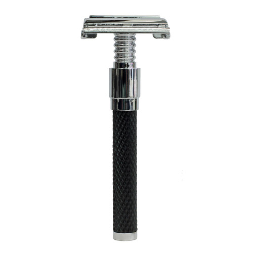 Parker 92R Black Textured Handle Butterfly Open Double Edge Safety Razor