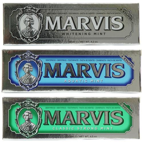 Marvis Triple Set - Aquatic Mint 85ml, Whitening Mint 85ml and Strong Mint 85ml