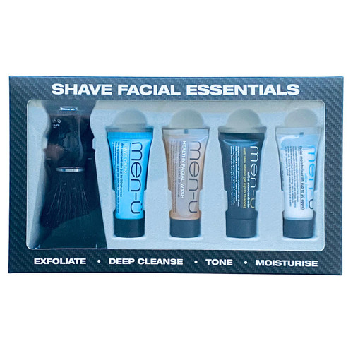 men-u Shave Facial Essentials Set with Black Shaving Brush