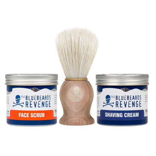 The Bluebeards Revenge Shaving Brush, Shave Cream & Face Scrub Bundle