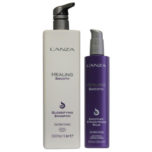L'Anza Healing Smooth Glossifying Shampoo 1000ml + Smoother 250ml