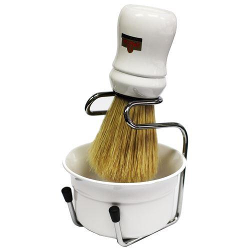 Omega White Shaving Bowl, Shaving Brush and Drip Stand