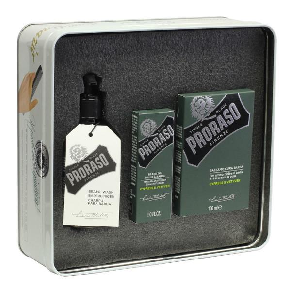 Proraso Vintage Tin Cypress & Vetyver Beard Kit