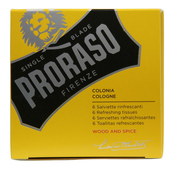 Proraso Wood & Spice Refreshing Tissues (6-pack)