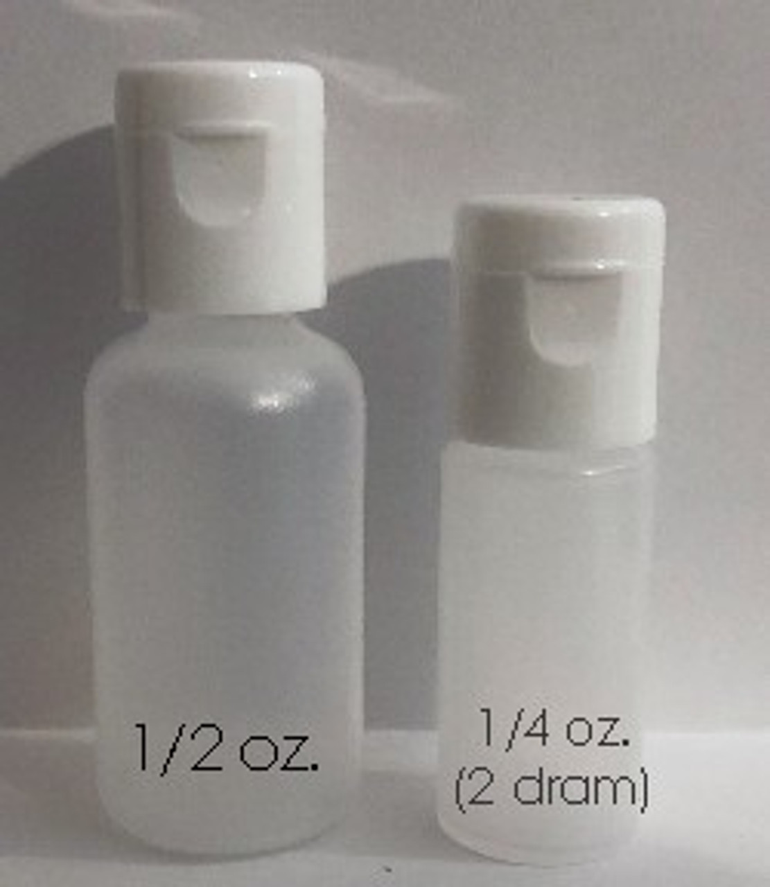 This set contains 1/2 ounce bottles of colors and mediums, and one 1/4 ounce bottle of Gloss Poly.   Compare to the Try Me Set which is bottled in 1/4 oz (2 dram) sized bottles.