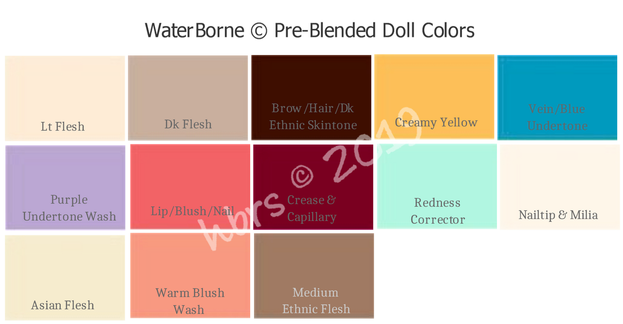 WaterBorne © Air Dry PRE-BLENDED Doll Colors, Individual 1 oz. Bottles