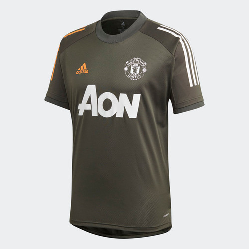 Manchester United 2020/21 Training Top - Olive/Orange