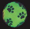 Glow-in-the-Dark Paw Print Squeaky Dog Ball