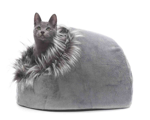 Secluded 'Super-Snug' Furry Soft Igloo Cat Bed