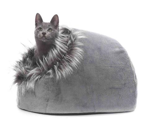 Secluded 'Super-Snug' Furry Soft Igloo Cat Bed